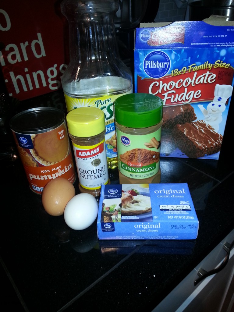 Ingredients for Pumpkin Brownies