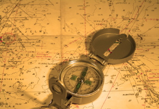 Compas, nautical map. Both navigational tools